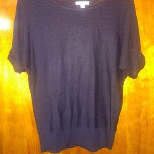 New York And Company Blue Short Sleeve Sweater XS